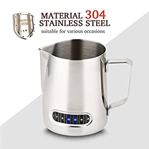 Frothing Pitcher Stainless Steel Milk Pitcher with Thermometer 20oz/600ml