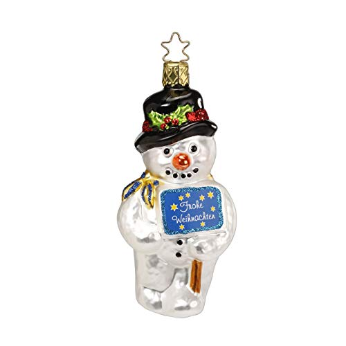 Inge Glas Snowman's Greeting 1-067-13 German Glass Christmas Ornament Gift Box