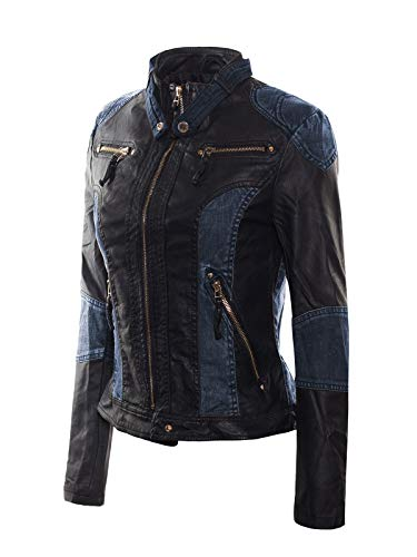 Jeans Leather Ladies (Instar Mode Women's Faux Leather Denim Detail Zip Up Moto Biker Jacket Blue M)