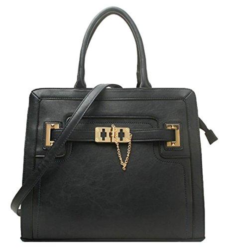 Azul De Sintético Bolso Para Mujer Material Girly Handbags Asas qwFZFSC