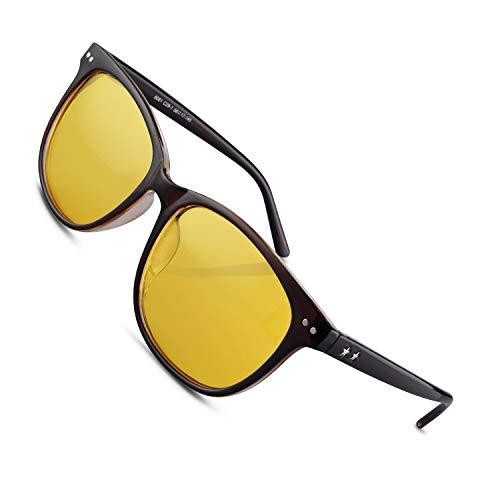 Night Vision Driving Glasses Polarized Anti-glare Clear Sun Glasses Men & Women Fashion(Tan)