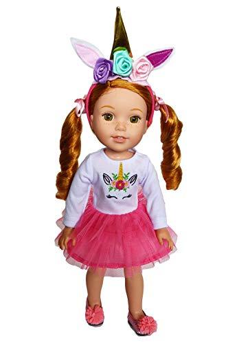 [해외]Brittany의 핑크 유니콘 의상 웰리 위셔 인형 반짝이는 소녀 인형과 하트 인형-35.6cm 인형 옷 / Brittany`s Pink Unicorn Outfit for Wellie Wishers Dolls, Glitter Girl Dolls and Hearts for Hearts Dolls- 14 Inch Doll Clothes