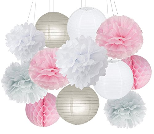 Party Decorations Furuix Pink Grey White Big Tissue Paper Pom Pom Honeycomb Ball for Bridal Shower Girls Birthday Wedding Decoration Pink Baby Shower Room Decoration Party Favors