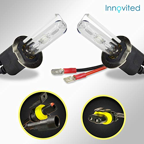 Innovited HID Xenon H3 6000K Replacement Bulbs (1 Pair Diamond White) - 2 Year Warranty (Bulb Hid H3 Xenon)