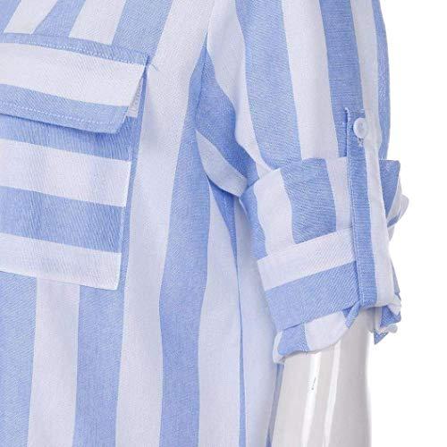 Donna Autunno Blau con Bluse Camicetta Camicie Tasche Blusa Single Manica Breasted Stripe Tops Lunga Camicie Bavero Grazioso Primaverile Sciolto Libero Tempo 66UTrnR