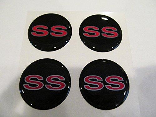 Chevrolet SS Style Wheel Rim Center Decal Sticker 43mm Set of 4 Red & Silver Camaro Ss Wheel Emblems