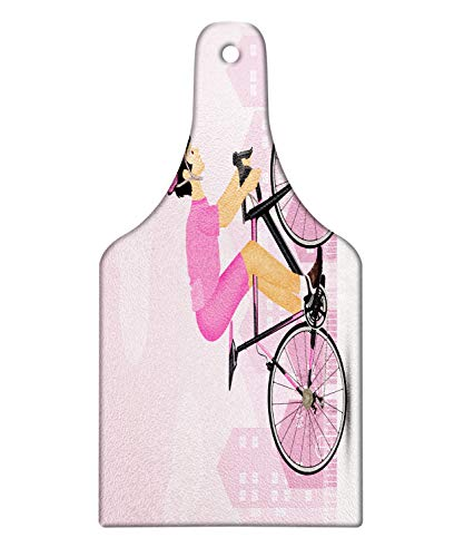 Lunarable Bicycle Cutting Board, Cycling Man in Pink Jersey and Hard Hat on City Silhouette, Decorative Tempered Glass Cutting and Serving Board, Wine Bottle Shape, Pale Mauve Pink Charcoal Grey Peach]()