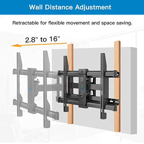 "PERLESMITH Full Motion TV Wall Mount for Most 37-70 Inch TVs up to 132lbs, Fits 16"", 18"", 24"" Wood Studs, Articulating TV Mount Dual Arms with Tilts, Swivels, Extends, Max VESA 600x400mm, PSLFK1-24"