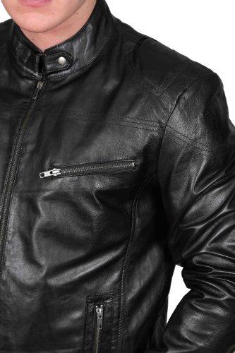 Herren Radfahrer Lederjacke SCHWARZ Späteste Tailliert Reißverschluss Stehender Kragen Designer Mantel - Foster