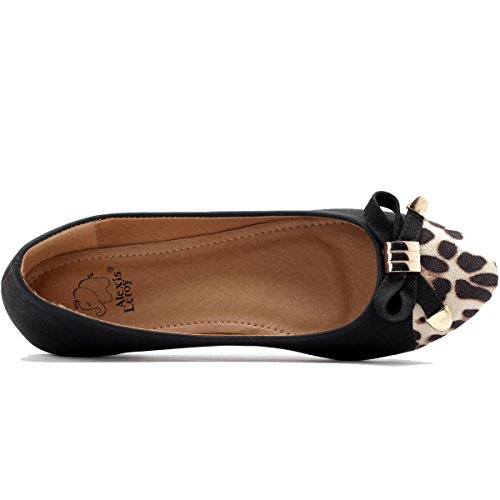 Alexis Leroy - Bailarinas planas con decoración de leopardo para mujer Negro