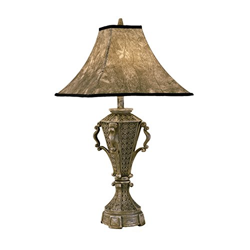 Hi-Lite Manufacturing H-51135-TB Roman Collection Table Lamp, Silver - Shade Leather Roman