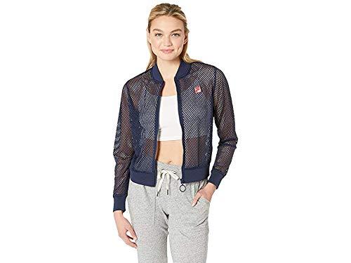 Fila Women's Elina Mesh Bomber Jacket Peacoat/White/Chinese Red X-Large ()