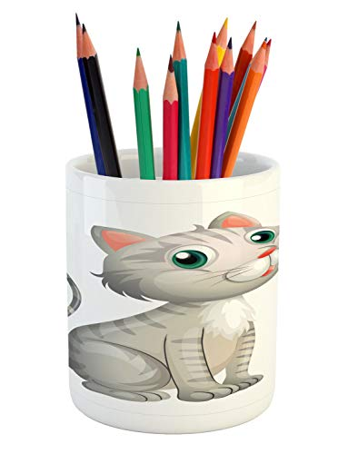 Ambesonne Grey Pencil Pen Holder, Illustration of an Adorable Little Baby Cat on a White Background Domestic Animal Pet, Printed Ceramic Pencil Pen Holder for Desk Office Accessory, Multicolor