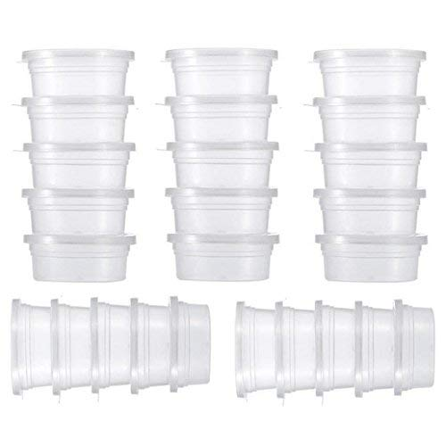 Weite Slime Storage Containers Lids, 25pcs 4oz Storage Packages, Leakproof Clear Plastic Foam Ball Containers (Clear)