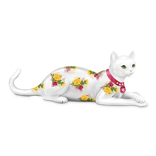 The Hamilton Collection Rose-Patterned Cat Figurine Blooming Purr-Fection Figurine