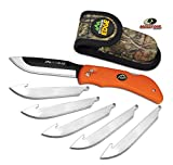 "Outdoor Edge RazorBlaze, RB-20, 3.5"" Replaceable Blade Folding Hunting Knife, Non-Slip Rubberized TPR Handle, Mossy Oak Nylon Sheath (Blaze Orange): more info"