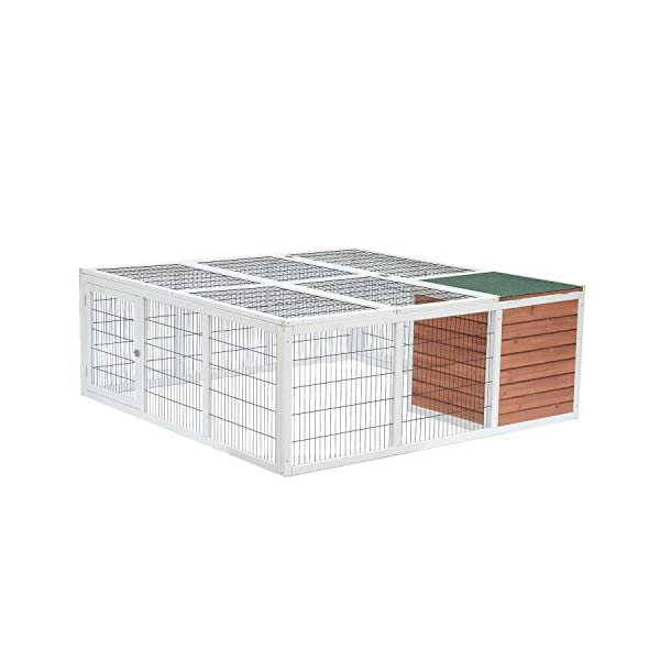 "PawHut 64"" Wooden Outdoor Rabbit Hutch Playpen with Run and Enclosed Cover 3"