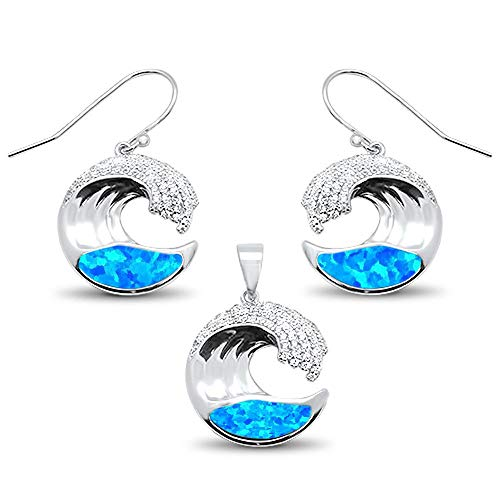 Oxford Diamond Co Sterling Silver Lab Created Blue Opal & Cubic Zirconia Ocean Wave Design Earring & Pendant Set ()