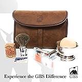 Merkur Deluxe Travel Dopp Kit - #23001 Double Edge Safety Razor, Chrome Shaving Brush, Bowl, Soap comes with Osma Block + Leather Toiletry Bag