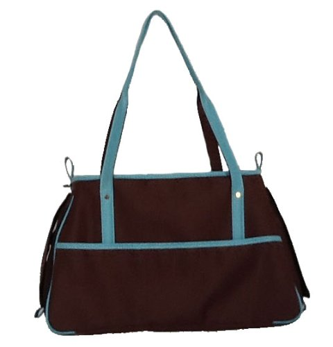 Petote Charlie Pet Carrier Bag, Cocoa Brown/Blue