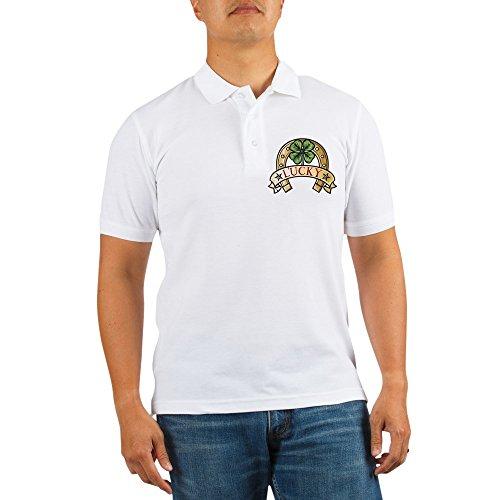 Truly Teague Golf Shirt Lucky Horseshoe with Four Leaf Clover - Medium
