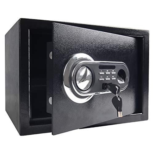 Security Safe Box, Digital and Fingerprint Lock with Key Lock, 13.8 x 9.8 x 10 Inches, Fireproof Waterproof Home Safe for Storing Jewelry Gun Cash Use Storage, Black
