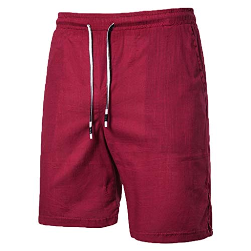 khdug Men's Summer New Large-Size Casual Five-Point Pants Cotton Hemp Pure Color Short Red