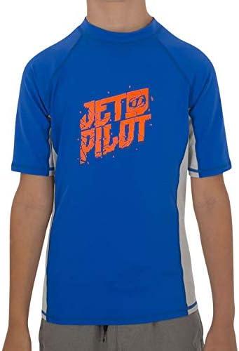 JETPILOT(ジェットパイロット) 2018年モデル☆キッズ用 JP CORP 半袖ラッシュガード・ブルー*グレー