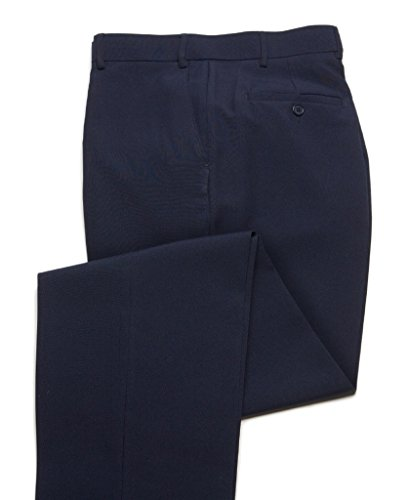Breeches & Frock Wrinkle Resistant Mens Dress Pant Slack - Flat Front - Navy 32