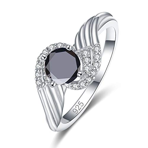 Psiroy 925 Sterling Silver Created Black Spinel Filled Bypass Band Swirl Anniversary Ring for Women Size 7