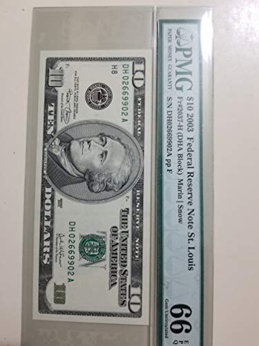 2003 $10 FEDERAL RESERVE NOTE-RAZOR SHARP CERTIFIED PMG 66 EPQ-WONDERFUL GEM UNCIRCULATED HIGH-GRADE NOTE-VERN'S CARD & COIN $10 -