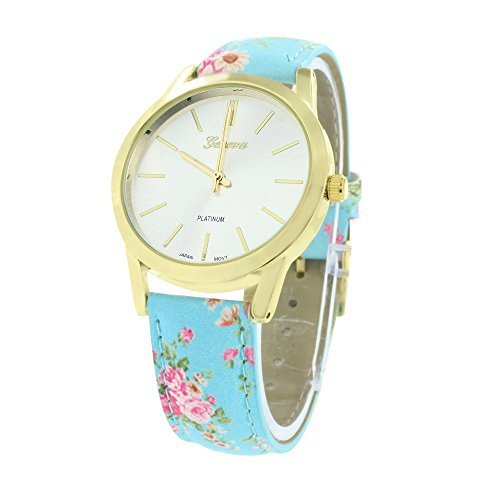 Gold Finish Womens Watch Sky Blue Floral Leather Strap Water Resist Joe Rodeo