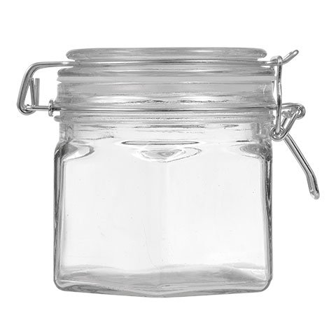 Glass Clasps (1 Glass Candy or Food Jar with Attached Lid with Metal Clasps, 17 oz.)