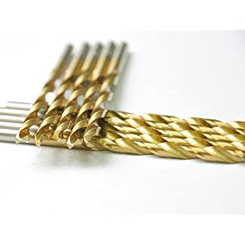 copper Aluminum Pack In Plastic Bag Metal drill 7//64 ideal for drilling on mild steel Zinc alloy etc DRILLFORCE HSS Jobber Length 10 PCS,7//64 x 2-5//8Titanium Coated Twist Drill Bits