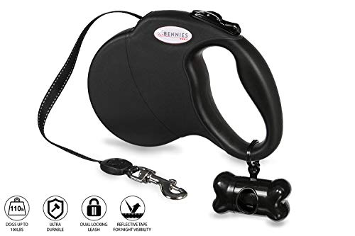 - Bennies World Tangle-Free, 16 ft Retractable Dog Leash, Heavy-Duty Reflective Nylon Lead with Anti-Slip Handle, Break & Lock Button, Waste Dispenser and Bags Included