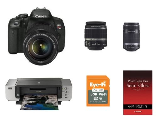 Canon EOS Rebel T4i 18.0 MP CMOS Digital SLR Camera Bundle with 18-55mm EF-S IS II Lens PLUS: 55-250mm lens PLUS: Canon PIXMA Pro9000 Mark II Inkjet Photo Printer PLUS: Eye-Fi Pro X2 8 GB Class 6 SDHC Wireless Flash Memory Card PLUS: Canon Photo Paper Plus Semi-Gloss 13 x 19 (50 Sheets) WITH $400 MAIL IN REBATE, Best Gadgets
