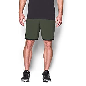 """Under Armour Men's Qualifier 9"""" Woven Shorts, Downtown Green (330)/Black, Large"""