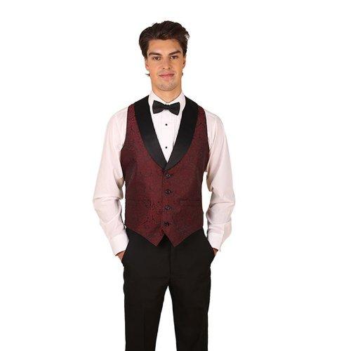 (Men's Burgundy Symphony Jacquard Tuxedo Vest with Black Lapel and Black Bow Tie Set-X-Large)