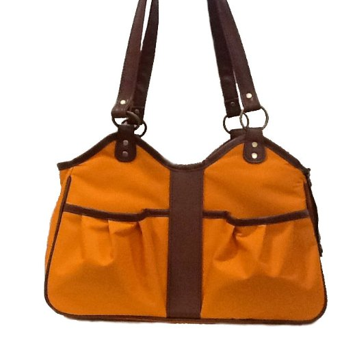 Petote Metro Dog Carrier Bags with 2 Open Pockets, Orange, Small