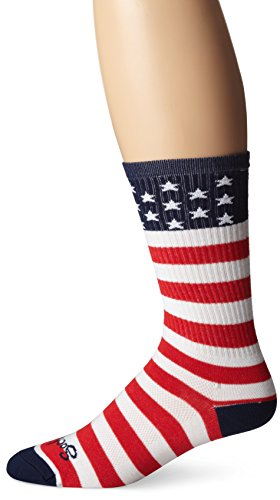 SockGuy Men's USA Flag Socks, White, Small/Medium