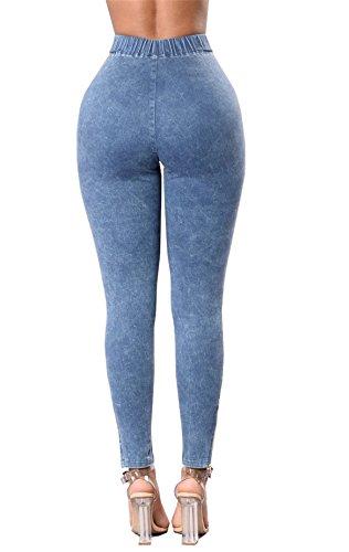 Cielo In Denim Da Tenxin Strappati Pantaloncini Jeans Blu A Vita Alta Donna Skinny Strappati Sexy OxRTB1qw
