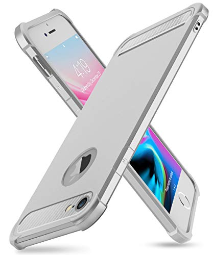 - iPhone 7/8 Case with Card Holder and[ Screen Protector Tempered Glass x2Pack] SUPBEC Heavy Duty Shockproof Anti-Scratch Rubber Silicone Wallet Case for iPhone7 /8 4.7 inch -Silver
