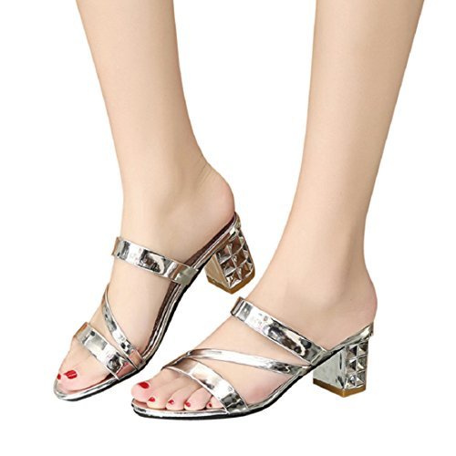 Fheaven Women Summer Sandals Fashion Ankle High Heels Sandals Party Slippers Shoes Pump Silver BDPc1Ylv