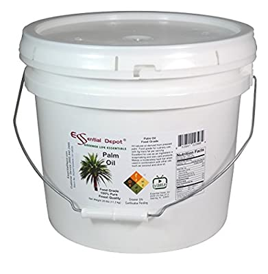 Palm Oil - Food Safe - Finest Quality - 25 lb - in Pail - 3.25 Gallons. from Essential Depot