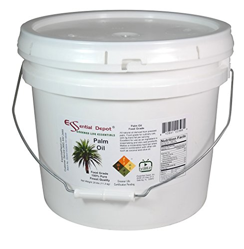 (Palm Oil - Food Safe - Finest Quality - 25 lb - in Pail - 3.25 Gallons.)