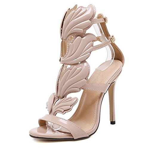 (Womens Sandals Summer High Heel Gold Leaf Flame Gladiator Party Dress Shoes)