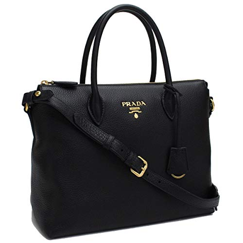 Prada Women's Black Vitello Phenix Leather Handbag 1BA063