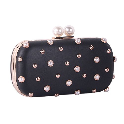 Pearls and Studs Clutch Purse Handbag with Gold Metal Fittings For Women, Crossbody Evening Bag in Hardcase with Strap Chain For Party (black) ()