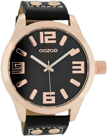 Damenuhren schwarz rosegold  Oozoo XL Armbanduhr Schwarz/Roségold C1159: OOZOO: Amazon.de: Uhren