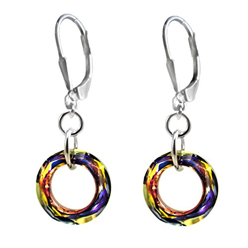 14mm Earrings Made with Swarovski Crystal Elements Cosmic Ring. Volcano Colored